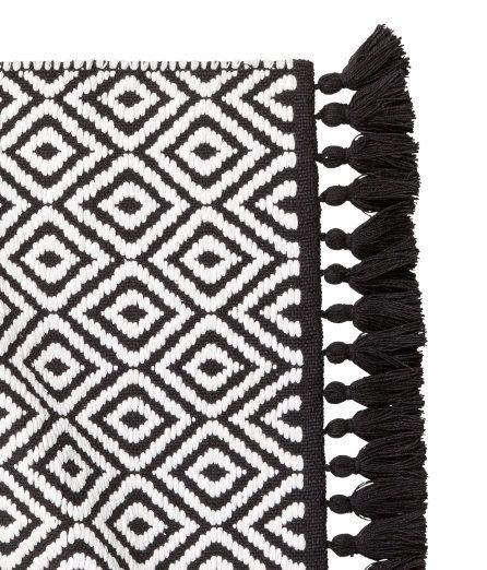Black And White Striped Bath Mat