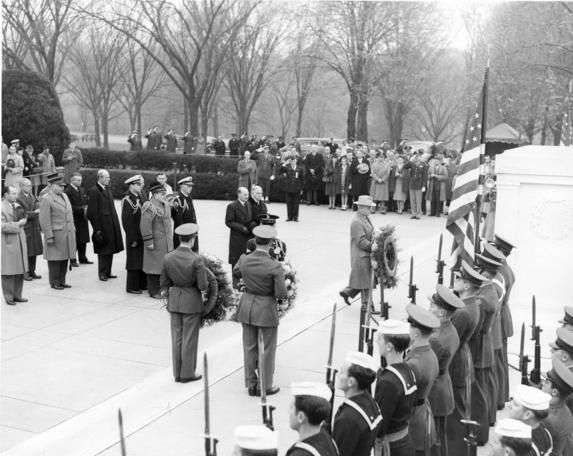 President Harry S. Truman lays a wreath at the Tomb of Unknown Soldier, Arlington National Cemetery, November 11, 1945.