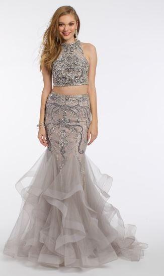 Beaded Two Piece Mermaid Tier Dress
