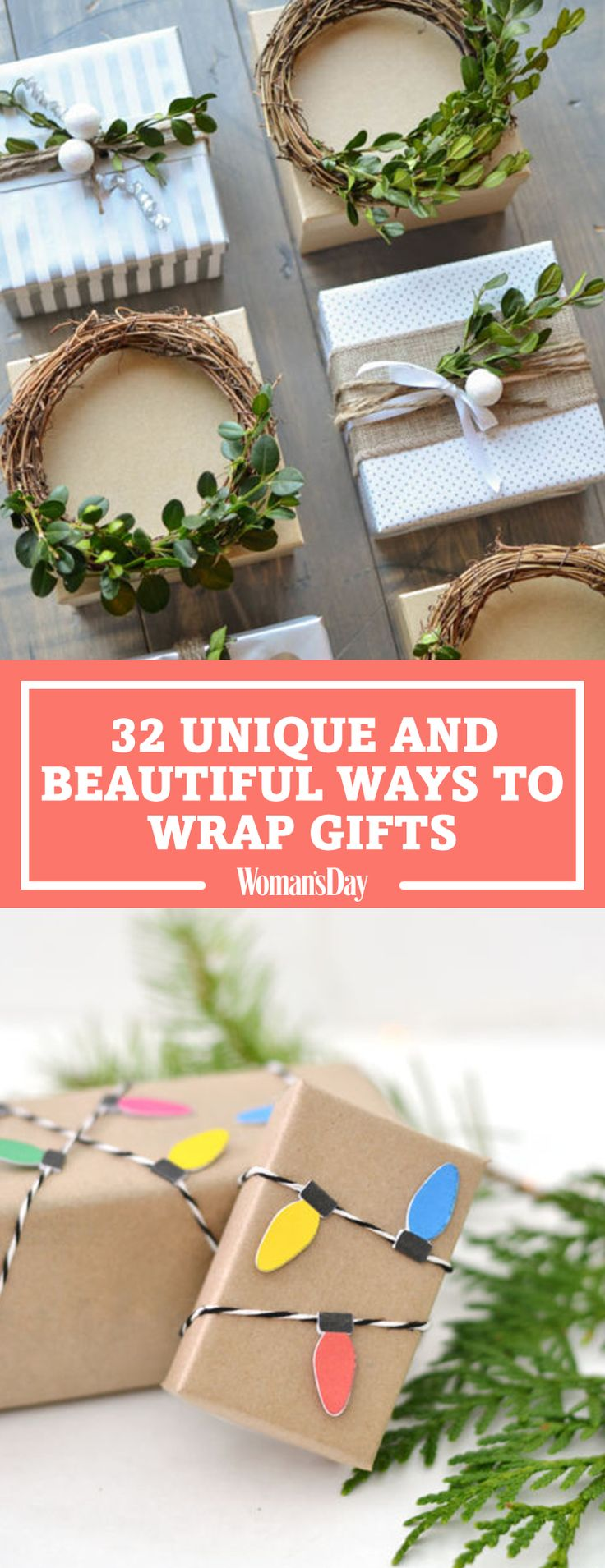 Save these gift wrapping ideas for later by pinning this image and follow Woman's Day on Pinterest for more.