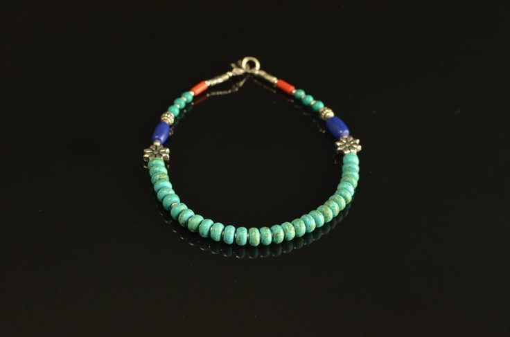 Turquoise Lapis Beaded Anklet