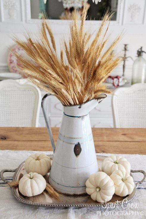 fall decor ideas - wheat in pitcher