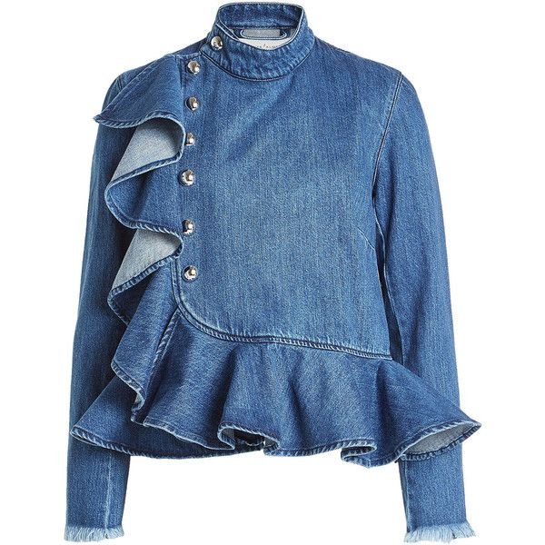 Marques' Almeida Denim Blouse (47950 RSD) ❤ liked on Polyvore featuring tops, blouses, blue, frill top, ruffle blouse, flutter-sleeve top, blue ruffle blouse and denim top