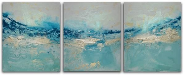 Sea Sparkle is a very large triptych seascape landscape painting set. Lots of shades of blues, greens and silver with white and indigo to add light and shade.