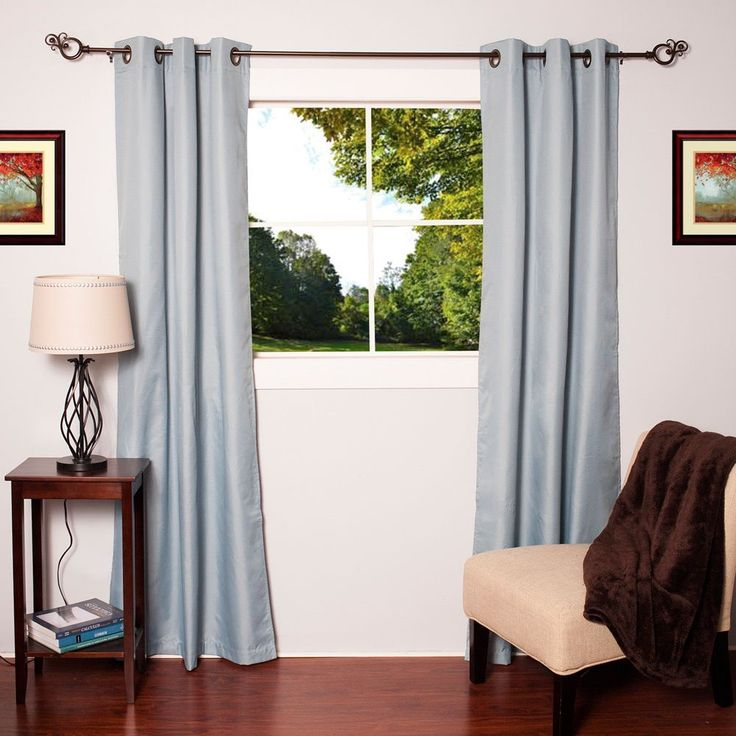 Faux Silk Blackout Thermal Drape Panels (Set of 2) | Overstock™ Shopping - Great Deals on Curtains