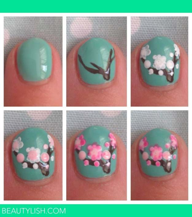 Cherry Blossom Nail Art and other Cool and Easy Nail Art Ideas and Tutorials | #…