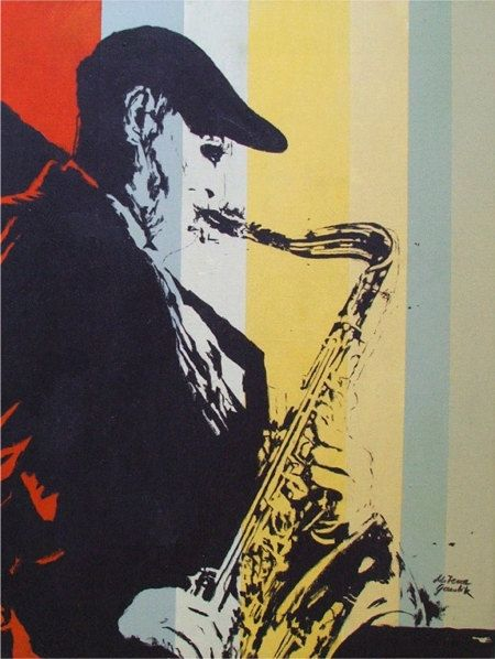 Saxophonist, Polish jazz musician portrait - Jan Ptaszyn,  Acrylic Poster Style, contemporary original painting  by Milena Gawlik