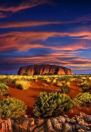 Uluru 'Ayers Rock' at Sunset • Located in the S.W. corner of the Northern Territory, Australia