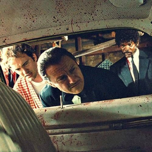 Quentin Tarantino, Harvey Keitel and Samuel L. Jackson in Pulp Fiction (1994).