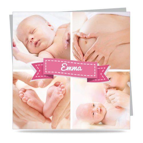 Faire Part Moins Cher - Faire part naissance - Ruban mosaique de photos Fille - Carte simple - 140x140 mm - 6068