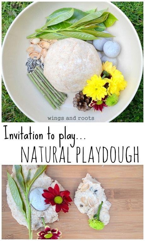 Exploring nature through wholemeal playdough and loose natural parts.
