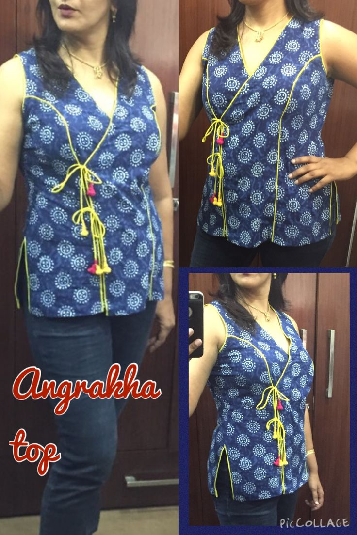 Angrakha top in indigo dyed cotton