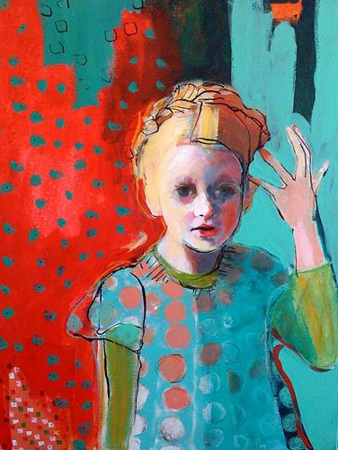 "Maria Pace-Wynters, ""Heidi Hair and Polka Dots"" mixed media painting on canvas, 16""x20"""