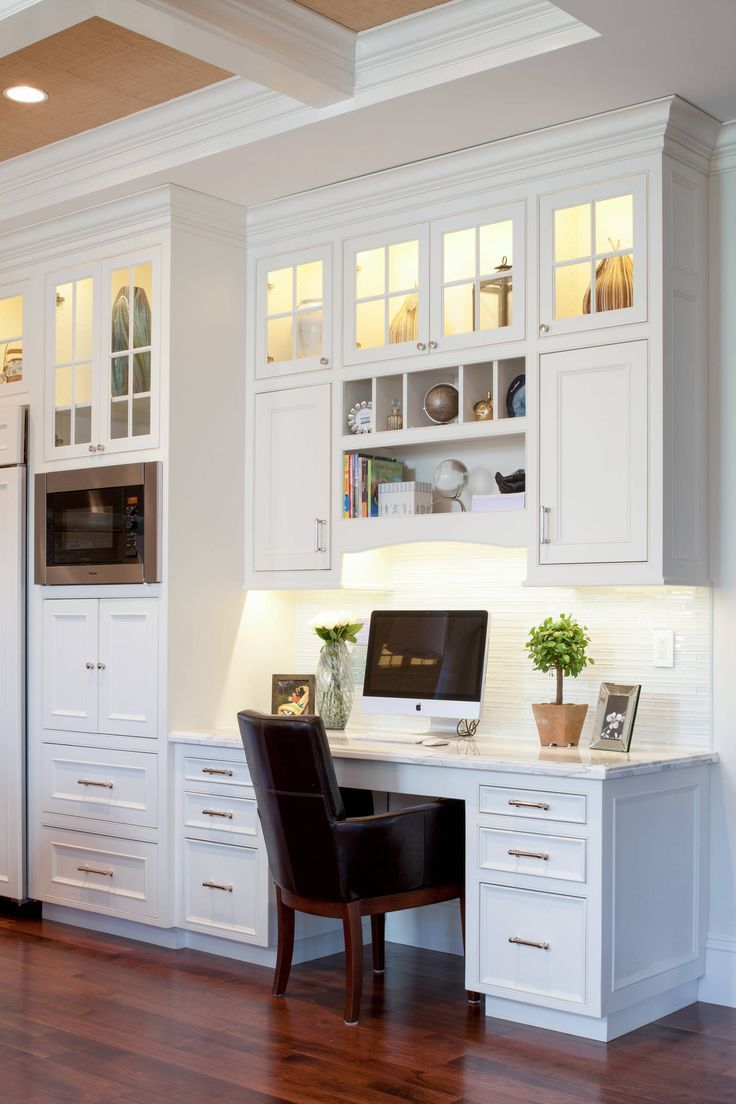 49 Functional Home Office Designs  Kitchen desk areas, White