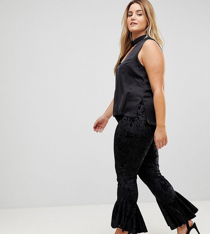 Flounce London #Plussize Crushed Velvet Legging with Ruffle Hem #newyeareveoutfit