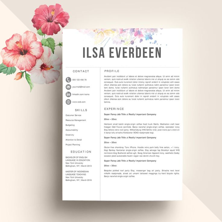 Creative Resume Template for Word and Pages | 1, and 2 Page Resume Template + Cover Letter + Icons | Creative CV Template, Modern Resume by Resumeland on Etsy