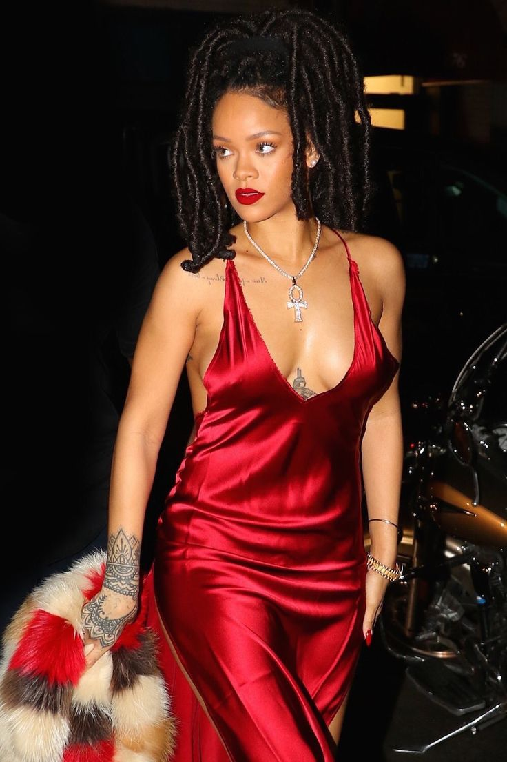 rihanna red satin