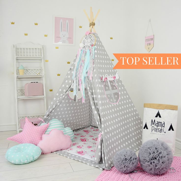Play Tent, Kids Teepee, Teepee Tent, Tipi, Kids Play Teepee, Childrens Teepee, Wigwam, Zelt, Tente,Polka Dots-Flower Power[set with pillows] by MamaPotrafi on Etsy