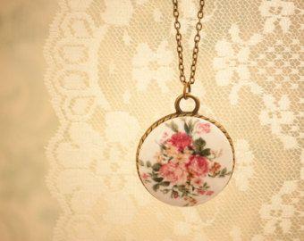 Shabby Chic Romantic Floral Round Pendant