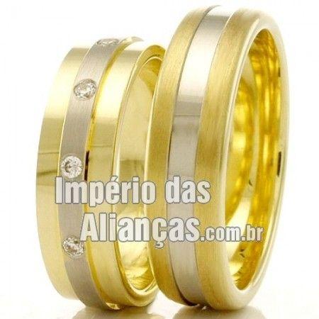 Alianças de Casamento Baratas Largura 6.0mm Pedras 10 diamantes de 1 ponto Acabamento Fosco e Liso Peso 12,00 gramas O PAR