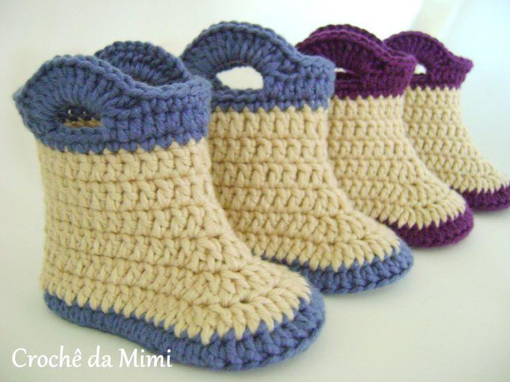 Passo a Passo Botinha crochê - Booties for baby made in crochet,