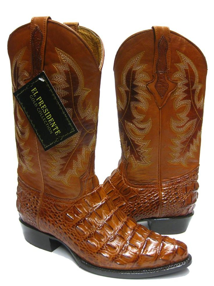 exotic western boots for men | MEN'S COGNAC BROWN ALLIGATOR CROCODILE BACK CUT COWBOY BOOTS WESTERN ...