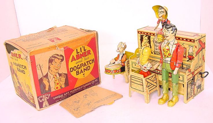 1940s UNIQUE ART TIN LITHO WIND-UP LI'L ABNER & HIS DOGPATCH BAND! WORKS! BOXED!