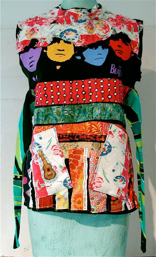 **Why not take a bunch of t-shirts to make one awesome vest?! BEATLES Wearable Art Altered T SHIRT Bonny Gorsuch