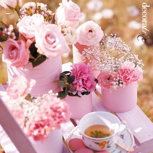 envases convertidos en floreros: latas de conserva