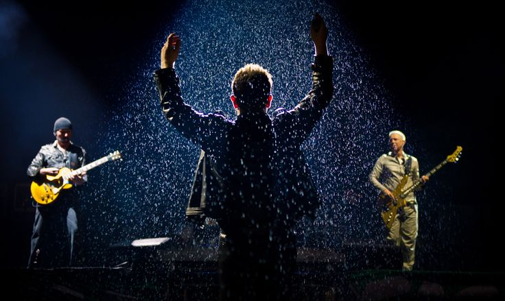 U2 performs live on the Pyramid Stage during the Glastonbury Festival at Worthy Farm June 24.