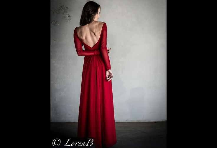 Red elegant long mesh sleeved circle dress with open back.