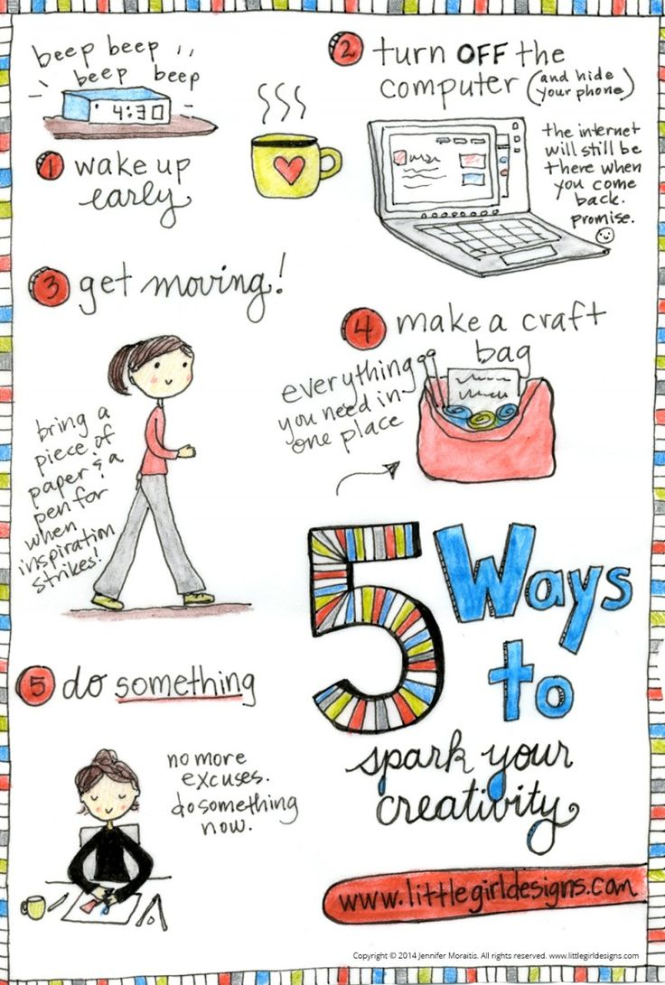 5 Ways to Spark Your Creativity - Spark that inner creative spirit in you! Read more at {littlegirldesigns.com}