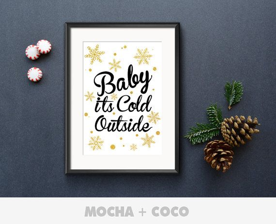 Christmas Baby its cold outside Poster, New Year Eve Art, Christmas Wall Decor, Kids Room, Printable Mocha + Coco, INSTANT FILE DOWNLOAD