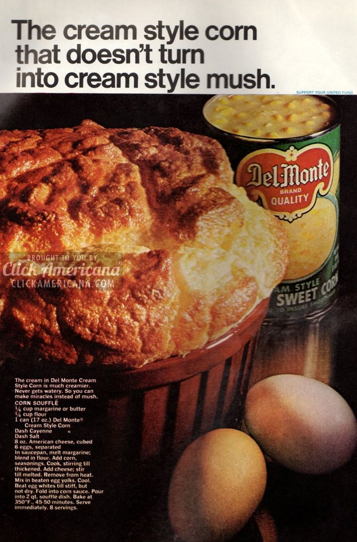 The cream-style corn that doesn't turn into cream-style mush Corn Souffle recipe The cream in Del Monte cream-style corn is much creamier. Never gets watery. So you can make miracles instead of mush. Ingredients 1/4 cup margarine or butter 1/4 cup flour 1 can Del Monte Cream Style Corn Dash Cayenne pepper Dash salt 8 …