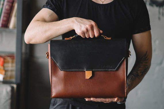 Lederen aktetas mannen leren Messenger Bag mannen aktetas