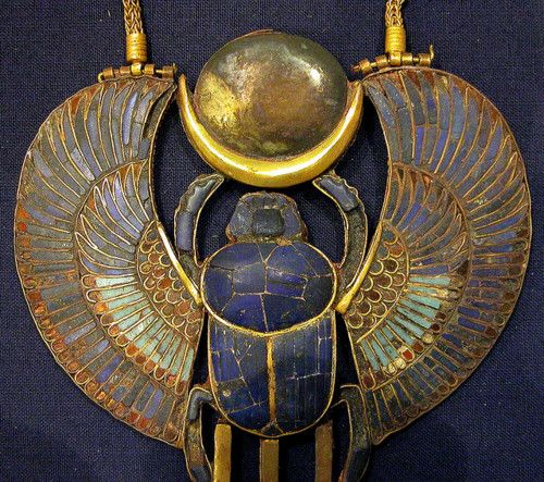 Winged Scarab pendant, gold and lapis lazuli, Ancient Egyptian