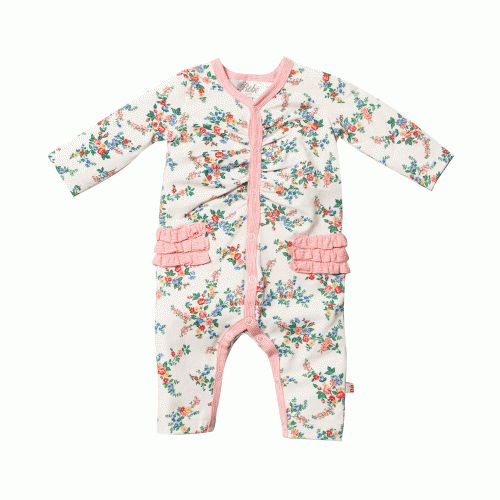 beautiful baby girls' romper with maple floral print from bebe by minihahafeatures rows of frills from the hip and across the backthis pretty design is also practical with press studs all the way down and foldover cuffs to prevent scratching $39.95