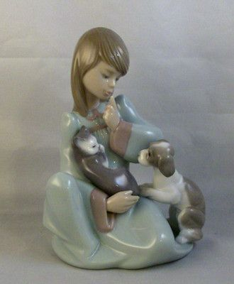 Lladro Girl With Two Cats