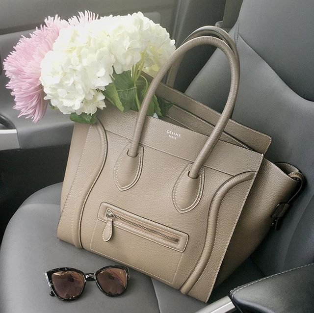 celine mini luggage tote and peonies