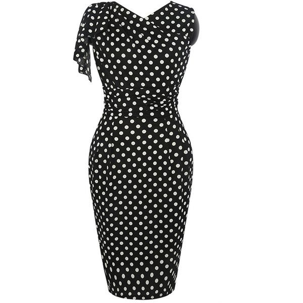 Graceful V-Neck Polka Dot Slit Bodycon Dress ($40) ❤ liked on Polyvore featuring dresses, v neck slit dress, body con dress, fitted formal dresses, bodycon dress and slit dress