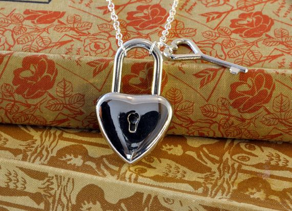 Silver Heart Shaped Padlock Necklace with key  by twopennylane, £9.99