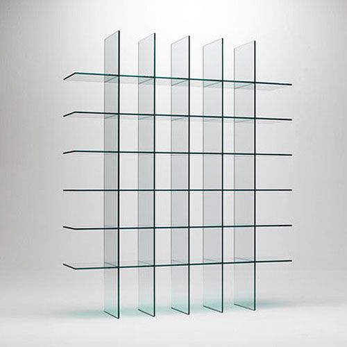 Glas Italia, Glass Shelves by Shiro Kuramata. Glass Shelves is created by  the master glass artisans at the Glas Italia workshop in Macherio, Italy.