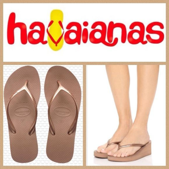 NEW!  Havaianas High fashion wedge flip-flop Brand new, ultra-comfy Havaianas 'High' fashion wedge is the perfect all-day footwear in a gorgeous, unique yet versatile shade of 'rose gold'. These flip-flops will pair with all your warm-weather attire & are perfect all the way from the beach to a night on the town!  Size is 7-8.  Retail at $38!  No trades please. Havaianas Shoes Sandals