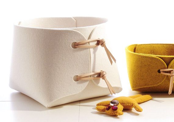 Fabric bin - Large toy storage bin with leather straps - big storage basket - soft felt storage box - minimalist felt toy box