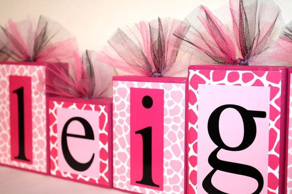 Ryleigh Collection  Pink Giraffe Print Name Blocks - Baby Shower Decoration - Nursery Wall letters