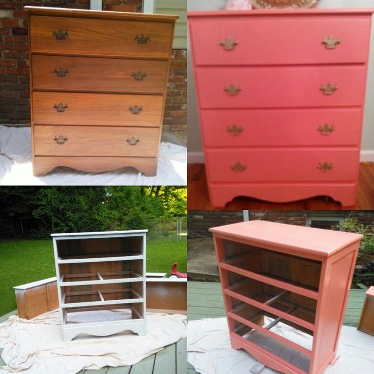 Refurnish Coral  dresser. #dresser #coral #DYI #handygirl