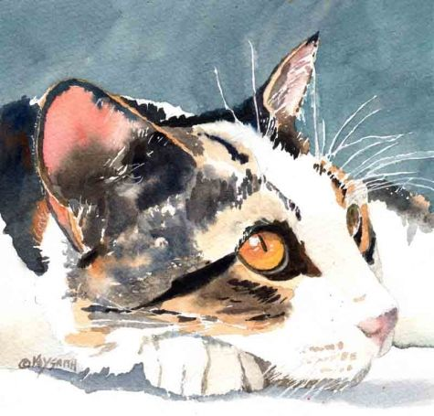 Wistful Kitty, painting by artist Kay Smith