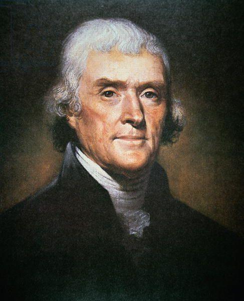 Thomas Jefferson (1743-1826) (colour litho) Peale, Rembrandt (1778-1860)