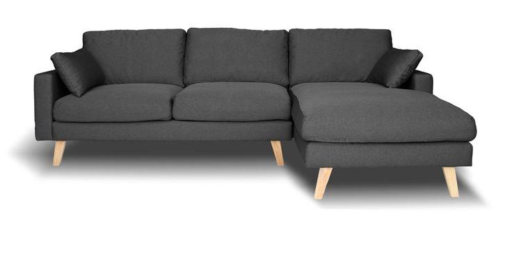 Canapé dangle droit Switsofa Vasby Tissu Gris  Sofa