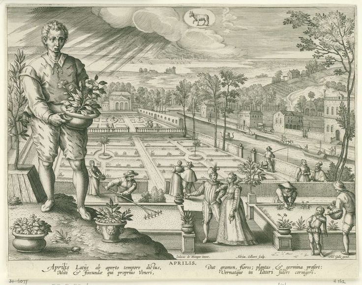 April, Adriaen Collaert, Cornelis Kiliaan, Philips Galle, 1586 - 1618